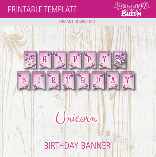 graphic relating to Free Printable Unicorn Template referred to as Absolutely free Printable Rainbow Unicorn Birthday Banner Birthday Buzzin