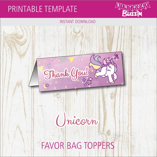 graphic about Free Printable Bag Toppers called Cost-free Printable Rainbow Unicorn Desire Bag Toppers Birthday