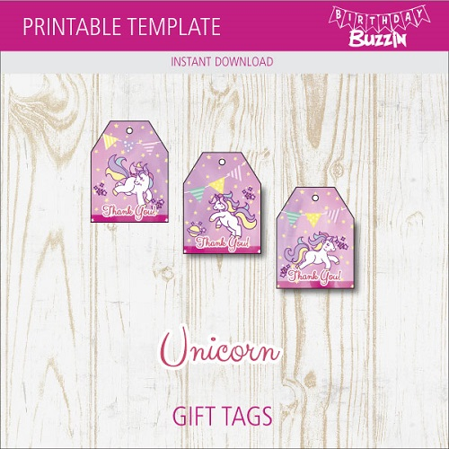 photo relating to Free Unicorn Printable called Cost-free Printable Rainbow Unicorn Choose Tags Birthday Buzzin