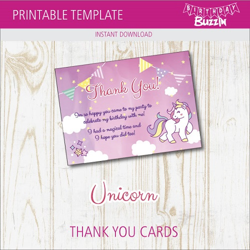 image regarding Free Printable Thank You identified as Free of charge Printable Rainbow Unicorn Thank Yourself Playing cards Birthday Buzzin