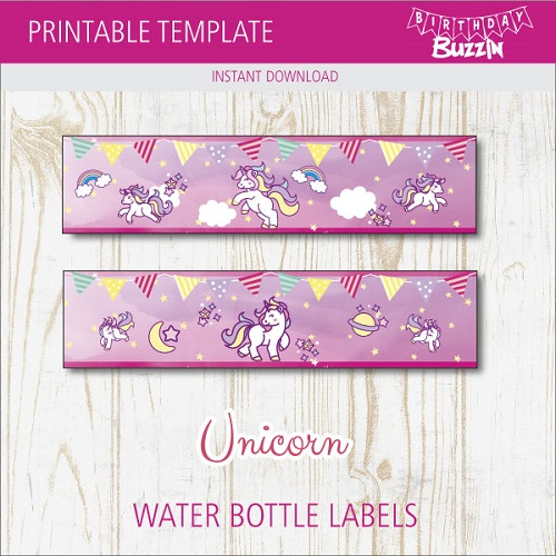picture relating to Printable Water Bottle Labels Free titled Totally free Printable Rainbow Unicorn H2o Bottle Labels