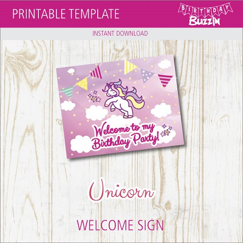 image about Free Printable Welcome Sign Template identify No cost Printable Unicorn Welcome Birthday Social gathering Indication