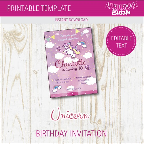 Free Printable Rainbow Unicorn Birthday Invitations Birthday Buzzin