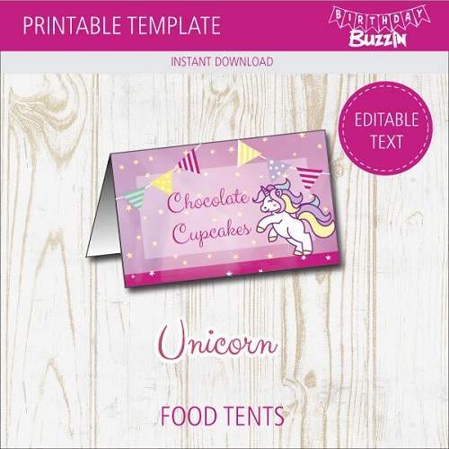 picture about Free Printable Unicorn Template identify Cost-free Printable Rainbow Unicorn Food items Tents Birthday Buzzin