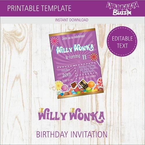 Free Printable Willy Wonka Birthday Party Invitations
