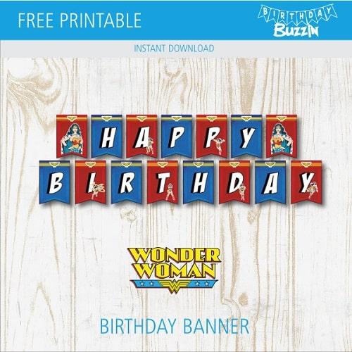 Free Printable Wonder Woman Birthday Banner Birthday Buzzin