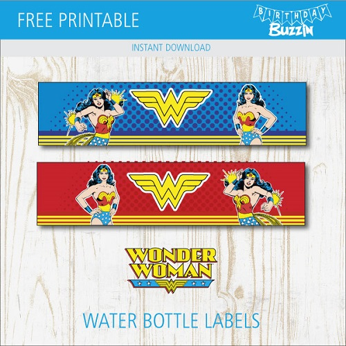 graphic about Wonder Woman Logo Printable identify Absolutely free Printable Speculate Female Drinking water Bottle Labels Birthday