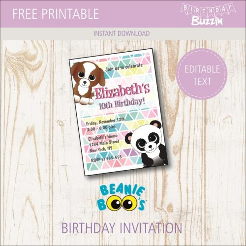 photograph regarding Beanie Baby Checklist Printable titled Cost-free Printable Beanie Boo Birthday Celebration Invites