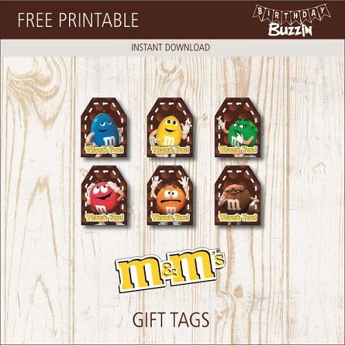 Free Printable M&M Gift Tags