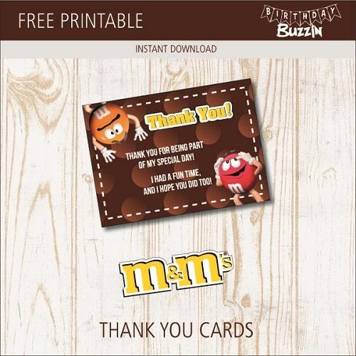 free printable m u0026m thank you cards