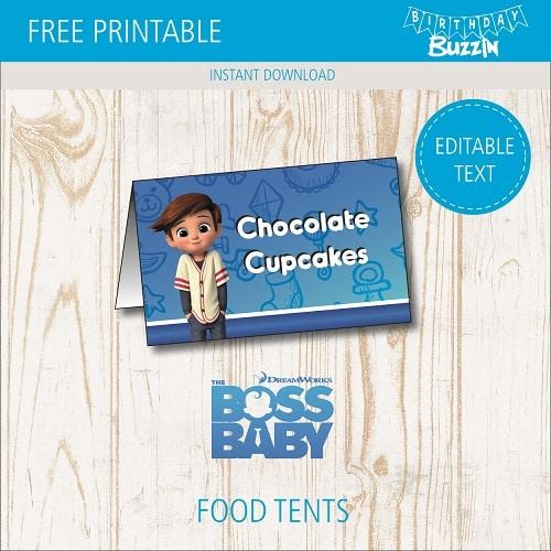 free printable boss baby food tents