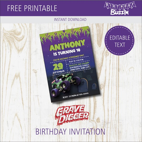 Free Printable Grave Digger Birthday Party Invitations
