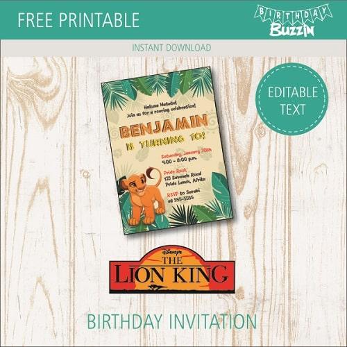 Free Printable Lion King Birthday Party Invitations Birthday Buzzin