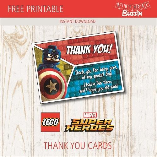Free Printable Lego Marvel Superheroes Thank You Cards Birthday Buzzin