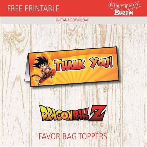 Free Printable Dragon Ball Z Favor Bag Toppers