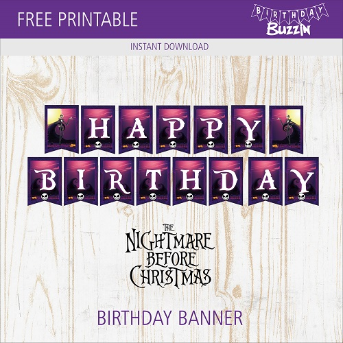 photo about Nightmare Before Christmas Printable named Free of charge Printable Nightmare In advance of Xmas Birthday Banner
