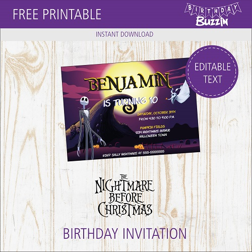 picture about Free Printable Holiday Invitations referred to as No cost Printable Nightmare Right before Xmas Birthday occasion