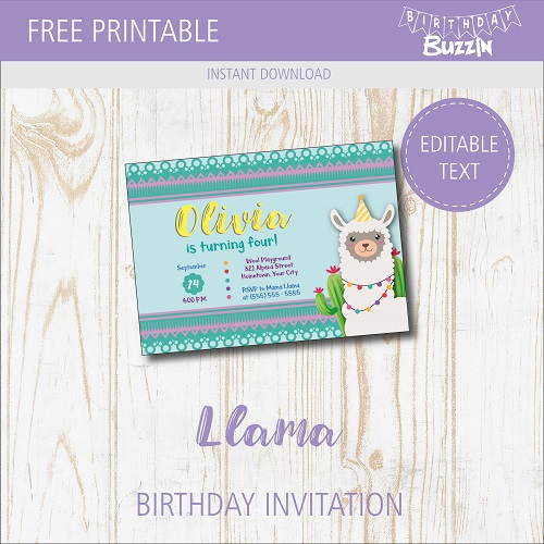 image relating to Printable Party Invitations identified as Free of charge Printable Llama Birthday Occasion Invites Birthday