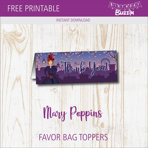 Free Printable Mary Poppins Favor Bag Toppers | Birthday Buzzin