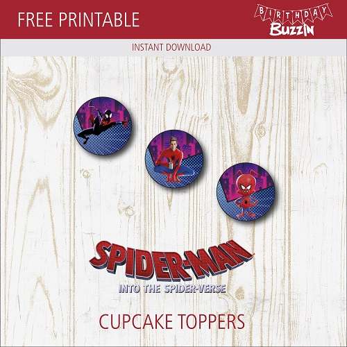 photo regarding Free Printable Cupcake Wrappers and Toppers With Spiderman called No cost Printable Spider-person into the Spider-verse Cupcake