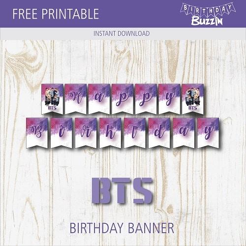 image regarding Free Printable Birthday Banner referred to as Totally free Printable BTS Birthday Banner Birthday Buzzin