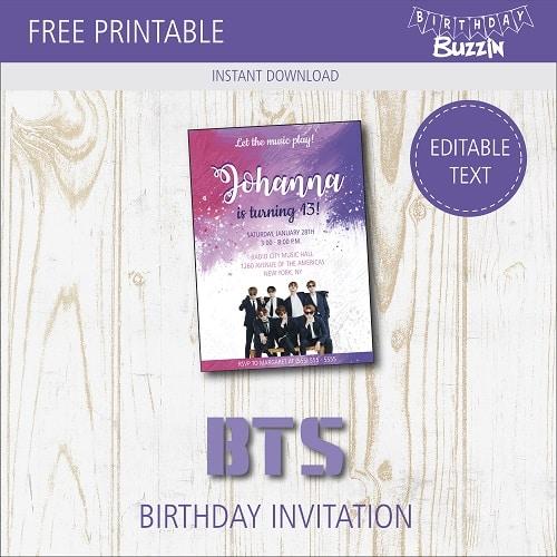 Free Printable BTS Birthday Party Invitations