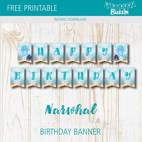 photograph about Free Printable Birthday Banner identify Absolutely free Printable Narwhal Birthday Banner Birthday Buzzin