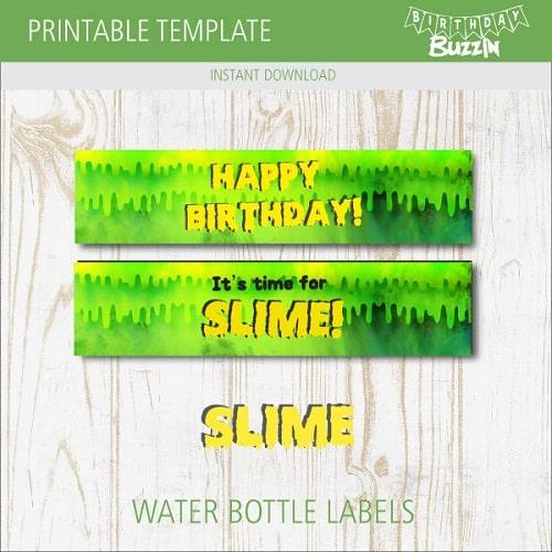 free printable slime water bottle labels birthday buzzin. Black Bedroom Furniture Sets. Home Design Ideas