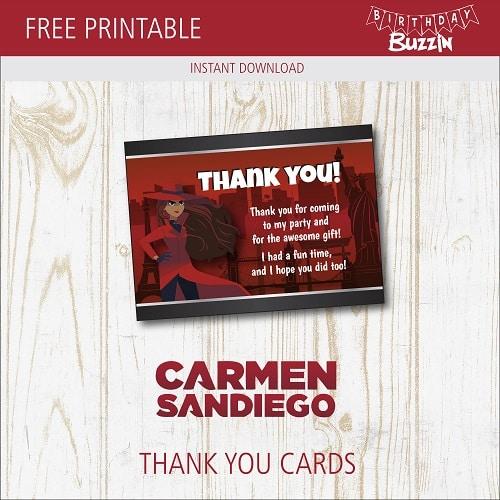 Free Printable Carmen Sandiego Thank You Cards