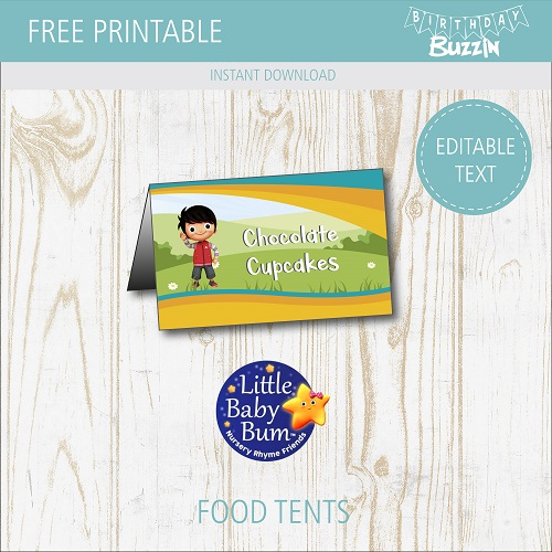 Free Printable Little Baby Bum Food Tents   Birthday Buzzin