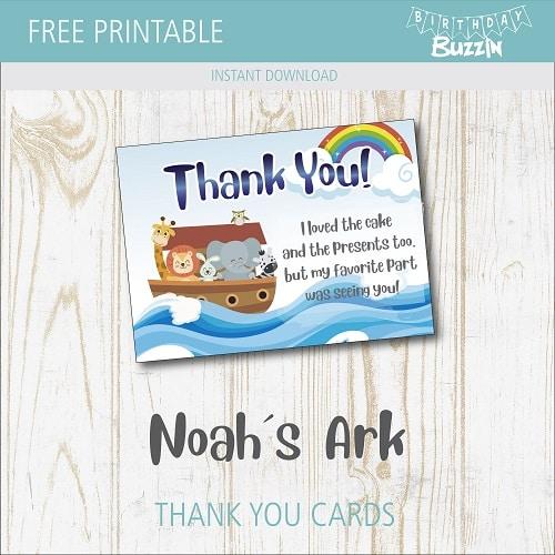 Fine Free Printable Noahs Ark Thank You Cards Birthday Buzzin Personalised Birthday Cards Veneteletsinfo